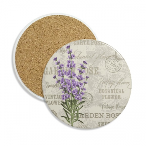 Purple Lavender Flower Plant Coaster Cup Mug Tabletop Protection Absorbent Stone