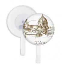 Florence Cathedral Italy Pattern Sucker Suction Cup Hooks Plastic Bathroom Kitchen 5pcs Gift