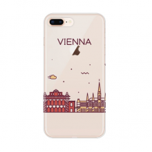 Vienna Austria Flat Landmark Pattern Apple iPhone 7/8 Plus Phone Case Flexible TPU Soft Transparent Cover Gift