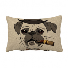 British Style Gentle Smoke Dog and Cigarette Throw Lumbar Pillow Insert Cushion Cover Home Sofa Decor Gift