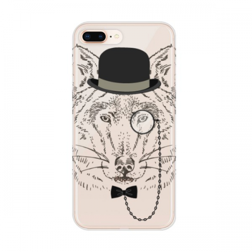 British Style Gentle Wolf Hat Bow Glass Apple iPhone 7/8 Plus Phone Case Flexible TPU Soft Transparent Cover Gift