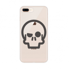 Determined Look Skeleton Cute Emoji Apple iPhone 7/8 Plus Phone Case Flexible TPU Soft Transparent Cover Gift