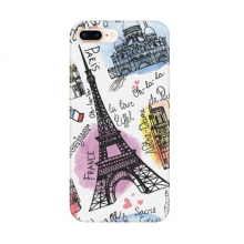 Building France Eiffel Tower Watercolor for Apple iPhone 7/8 Plus Phone Case Flexible TPU Soft Transparent Cover Gift