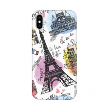 Building France Eiffel Tower Watercolor Apple iPhone X Phone Case Flexible TPU Soft Slim Transparent Cover Gift