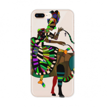 Cow Ride China Minority Dressing Totem Apple iPhone 7/8 Plus Phone Case Flexible TPU Soft Transparent Cover Gift