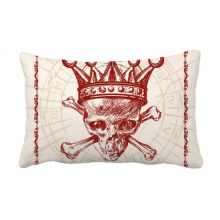 Diamonds Red Crown Skeleton Poker Card Pattern Throw Lumbar Pillow Insert Cushion Cover Home Sofa Decor Gift