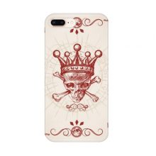 Diamonds Red Crown Skeleton Poker Card Pattern Apple iPhone 7/8 Plus Phone Case Flexible TPU Soft Transparent Cover Gift