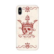 Hearts Spade Red Crown Skeleton Poker Card Apple iPhone X Phone Case Flexible TPU Soft Slim Transparent Cover Gift