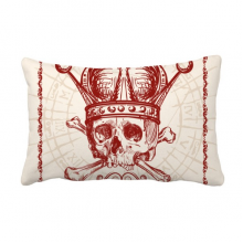 Clubs Red Crown Skeleton Poker Card Pattern Throw Lumbar Pillow Insert Cushion Cover Home Sofa Decor Gift