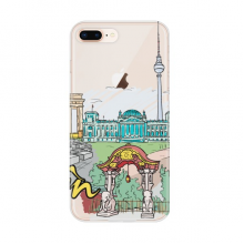 Germany Berlin Landmark Architecture for Apple iPhone 7/8 Plus Phone Case Flexible TPU Soft Transparent Cover Gift