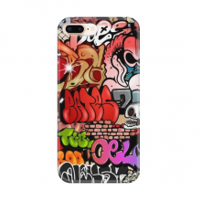 Graffiti Street Colorful Skull Wall Painting for Apple iPhone 7/8 Plus Phone Case Flexible TPU Soft Transparent Cover Gift