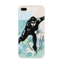 Winter Sport Speed Skating Male Athletes for Apple iPhone 7/8 Plus Phone Case Flexible TPU Soft Transparent Cover Gift