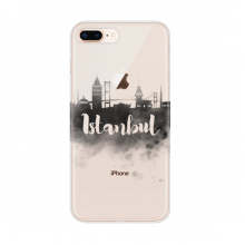 Istanbul Turkey Landmark Ink City Painting for Apple iPhone 7/8 Plus Phone Case Flexible TPU Soft Transparent Cover Gift