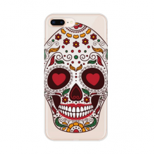 Flower Cirrus Eyes White Sugar Skull Apple iPhone 7/8 Plus Phone Case Flexible TPU Soft Transparent Cover Gift