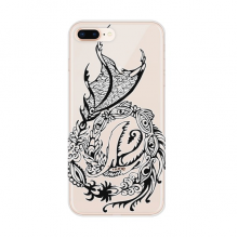China Dragon Line Painting Traditional Apple iPhone 7/8 Plus Phone Case Flexible TPU Soft Transparent Cover Gift