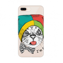 Foolscap I'm Fine Cat Protect Animal Apple iPhone 7/8 Plus Phone Case Flexible TPU Soft Transparent Cover Gift
