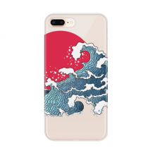 Japan Red Sun Sea Watercolor for Apple iPhone 7/8 Plus Phone Case Flexible TPU Soft Transparent Cover Gift