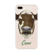 Brown-and-White Domestic Dairy Cow Animal for Apple iPhone 7/8 Plus Phone Case Flexible TPU Soft Transparent Cover Gift