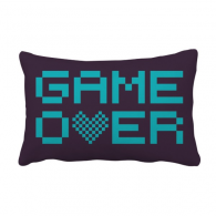 Blue Game Over Pixel Throw Lumbar Pillow Insert Cushion Cover Home Sofa Decor Gift