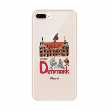 Demark National symbol Landmark  Pattern Apple iPhone 8/7 Plus Phone Case Flexible Soft Slim Transparent Cover