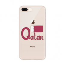 Qatar National Flag Purple Pattern for Apple iPhone 7/8 Plus Phone Case Flexible Soft Slim Transparent Cover