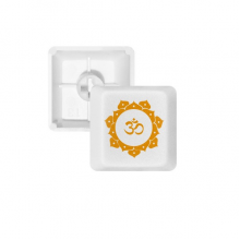 Buddhism Yellow Lotus Sanskrit Pattern PBT Keycaps for Mechanical Keyboard White OEM No Marking Print