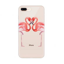 Flamingo couple Lover for Apple iPhone 7/8 Plus Phone Case Flexible Soft Slim Transparent Cover