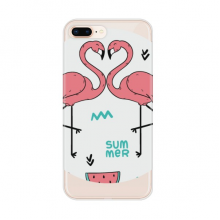 Flamingo couple Lover Apple iPhone 8/7 Plus Phone Case Flexible Soft Slim Transparent Cover