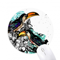 Ink Painting Toco Tropical Bird Round Non-Slip Rubber Mousepad Game Office Mouse Pad Gift