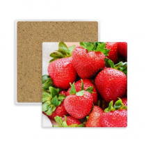 Fresh Strawberry Red Fruit Picture Square Coaster Cup Mug Holder Absorbent Stone for Drinks 2pcs Gift