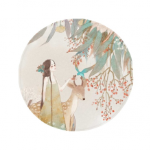 Deer Chinese Classical Style Illustrator Anti-slip Floor Pet Mat Round Bathroom Living Room Kitchen Door 60/50cm Gift