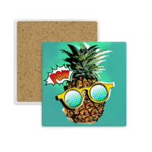 American Comic Style Pineapple Fruit Square Coaster Cup Mug Holder Absorbent Stone for Drinks 2pcs Gift