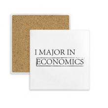 Quote I Major In Economics Square Coaster Cup Mug Holder Absorbent Stone for Drinks 2pcs Gift