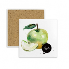 Apple Watercolour Fruit Tasty Health Square Coaster Cup Mug Holder Absorbent Stone for Drinks 2pcs Gift