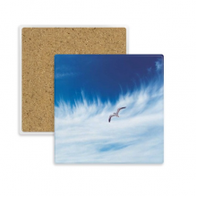 Clouds Bird Blue Sky Square Coaster Cup Mug Holder Absorbent Stone for Drinks 2pcs Gift