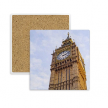 Big Ben Blue Sky White Clouds Square Coaster Cup Mug Holder Absorbent Stone for Drinks 2pcs Gift