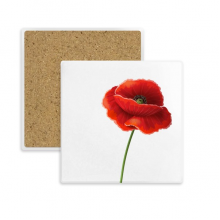 Simplicity Red Flower Art Painting Corn Poppy Square Coaster Cup Mug Holder Absorbent Stone for Drinks 2pcs Gift