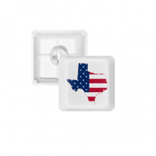 Texas USA Map Stars Stripes Flag Shape PBT Keycaps for Mechanical Keyboard White OEM No Marking Print