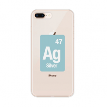 Ag Silver Chemical Element Science Apple iPhone 8/7 Plus Phone Case Flexible Soft Slim Transparent Cover