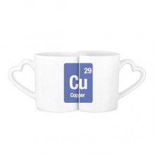 Cu Copper Chemical Element Science Lovers' Mug Heart Shape Mugs Set White Ceramic Cup Gift with Handles