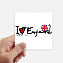 I Love England World Flag Heart Sticker Square Waterproof Stickers Wallpaper Car Decal