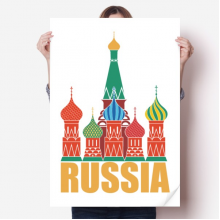 Russia Cathedral Moscow Church Illustration Sticker Poster Decal 31x22