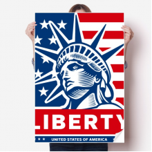 America Flag With Liberty Statue Pattern Sticker Poster Decal 31x22
