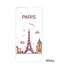 Paris French Flat Landmark Pattern For iPhone SE 2 new for Apple 78 Case Cover White