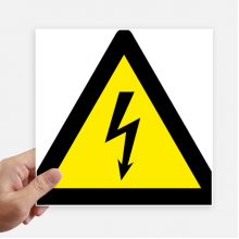 Warning Symbol Yellow Black Electric Shock Triangle Sticker Tags Wall Picture Laptop Decal Self adhesive