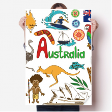 Australia Landscape Animals National Flag Sticker Poster Decal 31x22
