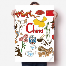 China Panda Landscap National Flag Sticker Poster Decal 31x22