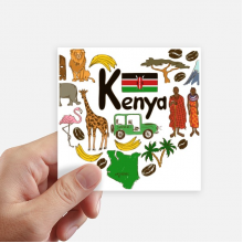 Kenya Love Heart Landscap National Flag Square Stickers 10cm Wall Suitcase Laptop Motobike Decal 8pcs