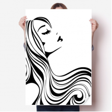 Beautiful Long Curly Hair Lady Silhouette Sticker Poster Decal 31x22
