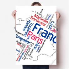 Words City Name France Mark Map Sticker Poster Decal 31x22